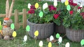 Easter decoration for garden and backyard. Happy easter. Стоковые видеозаписи