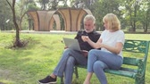 nevetés : Senior couple using a laptop while sitting on chair in the park