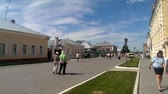 KOLOMNA June 13: Citizens are walking down the main street Kolomna Kremlin street Lazhechnikov in June 13 2015 in Kolomna. Stock Footage