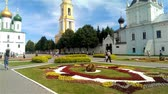 KOLOMNA June 13: Citizens are walking down the main square of Kolomna Kremlin. Assumption Cathedral and Holy Trinity Monastery Novo Golutvin in June 13 2015 in Kolomna.