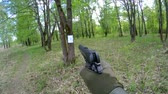 slow motion shots from airsoft pistol plastic balls at a target outdoor Stock Footage