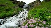 Waterfall called girlish braids rapid flowing stream on the mountain and rocks