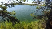 com sombra : Scenic view of blue lake near trees and grass
