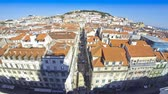 roof : Panoramic aerial view of Lisbon city, Portugal Time Lapse Stock Footage