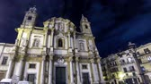 sicílie : PALERMO, ITALY - MAY 15, 2018: Church of Saint Dominic (Chiesa di San Domenico e Chiostro) at night, Palermo, Sicily, Italy. Is a 2nd most important church of Palermo. Time Lapse