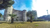 pilar : CATANIA, ITALY - MAY 15, 2018: Castello Ursino or Castello Svevo di Catania, castle in Catania, Sicily. Built in 13th century as a royal castle of the Kingdom of Sicily. Time Lapse. 4K UltraHD