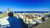 canárias : Panorama of Las Palmas de Gran Canaria city, Canary Islands, Spain. Aerial view from belltower of the Cathedral of Santa Ana. Beautiful seascape and old town on background. Time Lapse. 4K UltraHD