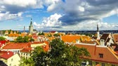 estonya : Aerial view of Tallinn Old Town (Vanalinn), Estonia. The classic iconic view of the Historic Centre of Tallinn. Tallinn city wall and St. Olaf Church. Time Lapse. FullHD video Stok Video