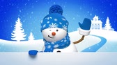 waves : snowman animated greeting card, 3d cartoon character