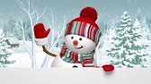 quiet : Snowman waving hand in the snowy forest, animated greeting card, winter holiday background, Merry  Christmas and a Happy New Year