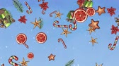 здесь : Christmas holiday background, sweets, treat, stars, cookies, falling ornaments, gift rain, snowfall