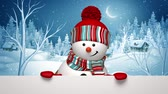 board : Christmas snowman appearing, Winter Holiday greeting card, animated 3d cartoon character, rural landscape, holiday background, alpha channel