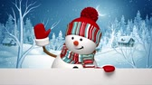 snowman waving hand, winter landscape, silent night, Christmas greeting card template, Holiday background, animated 3d cartoon character.