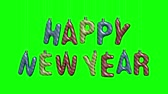 3d render, happy new year, hanging sparkling letters, greeting card, text isolated on green background, chromakey Стоковые видеозаписи