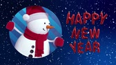 3d render, digital animation, cartoon snowman appearing in the hole, snowfall, Happy New Year animated greeting card