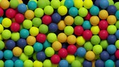 footage : 3d render, colorful balls jumping, filling blank space, kids toys, playground, abstract background.