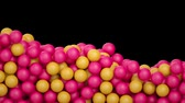 3d render, colored balls falling on black background, macro animation, pharmacy, supplements, beads, toys, candy Stock Footage