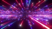 3d render, big bang, galaxy horizon, abstract cosmic background, celestial, beauty of universe, speed of light, fireworks, red blue neon glow, stars, cosmos, infrared light, outer space, 4k animation Стоковые видеозаписи