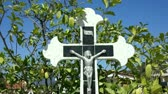 wiara : Crucifix sourounded by moving leaves