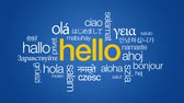 idegen : Hello in different languages Stock mozgókép