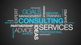 specialists : Consulting Services word cloud on dark background