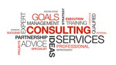 strategy : Consulting Services word cloud on white background