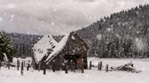 abrigo : Winter landscape with an old wooden shack, snow covered trees and hills.