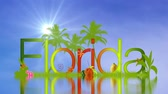 A cloud timelapse with sun in the background and the word Florida reflecting in the water