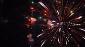 pirotecnia : Nice close up firework in dark sky for Christmas and New Year. Colorful fireworks at nighttime.