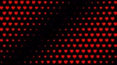 grafikleri : Red polka hearts waving motion on black
