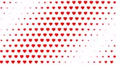 Red polka hearts waving motion on white