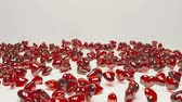 drop : Red crystral hearts drop the floor Stock Footage
