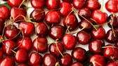 Heap of ripe sweet cherry, turning around Стоковые видеозаписи