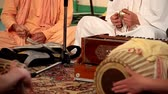 Krishna playing on traditional indian musical instruments and meditation