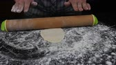 тонкий : Rolling Dough Out for Tortillas with a Slider Стоковые видеозаписи