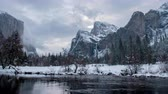Time Lapse of Yosemite Valley View with Bridal Veil Falls across snowy scene