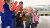 доступность : Mtsensk, Russia 20 Dec 2016. EDITORIAL - campaign life without abortion, the volunteers marching on the Central square of Mtsensk, with the aim of attracting the attention of women to abandon abortion without medical indications and the preservation of LI