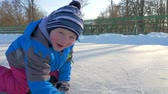 skate : Family ice skating Stock Footage
