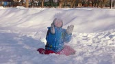 christmas angel : Children played in the snow Stock Footage