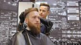 barber beard : Hairdresser for men. Barbershop. Caring for the beard. Barber with hair clipper works on hairstyle for bearded guy barbershop background. Hipster lifestyle concept. Barber with clipper trimming hair on nape of client. Hipster client getting haircut. Dryin Stock Footage
