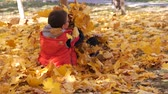 bratr : Autumn. Small children in the yellow leaves. Children play in the street with fallen leaves. Autumn grove of birches and maples. Boys throw up fallen leaves of trees in the top. Children sit across from each other on a carpet of yellow leaves and throw le