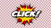 blam : Click - word in speech balloon in comic style animation, 4K retro cartoon comics animation on green screen