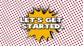 blam : Lets get started - words in speech balloon, comic style animation, 4K retro cartoon comics animation on green screen