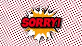 blam : Sorry - word in speech balloon in comic style animation, 4K retro cartoon comics animation on green screen Stock Footage