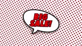 blam : Big sale text in speech balloon in comic style animation, 4K retro cartoon comics animation on green screen, special offer, sale, discount and percentages