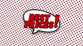 blam : Best prices text in speech balloon in comic style animation, 4K retro cartoon comics animation on green screen, special offer, sale, discount and percentages