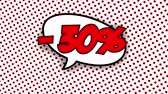 blam : 30 percent discount text in speech balloon in comic style animation, 4K retro cartoon comics animation on green screen, special offer, sale, discount and percentages