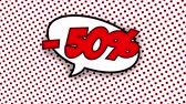 blam : 50 percent discount text in speech balloon in comic style animation, 4K retro cartoon comics animation on green screen, special offer, sale, discount and percentages Stock Footage