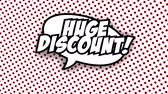 blam : Huge discount text in speech balloon in comic style animation, 4K retro cartoon comics animation on green screen, special offer, sale, discount and percentages