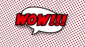 comic boom : Wow text in speech balloon in comic style animation, 4K retro cartoon comics animation on green screen, special offer, sale, discount and percentages